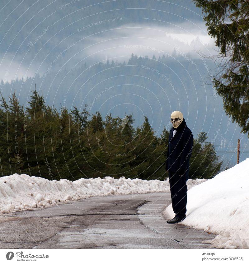 Anhalter Mensch Natur Landschaft Winter Wald kalt Umwelt Straße Tod Wege & Pfade Religion & Glaube Zeit außergewöhnlich Angst Körper Nebel
