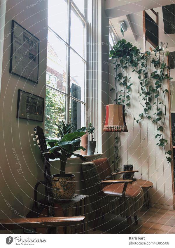 Interieur Sessel Gitarre Harmonie Café Zimmerpflanze Zimmerpflanzen Lampe Innenaufnahme Fenster Fensterscheibe zimmer Tisch Bilder Bilderrahmen