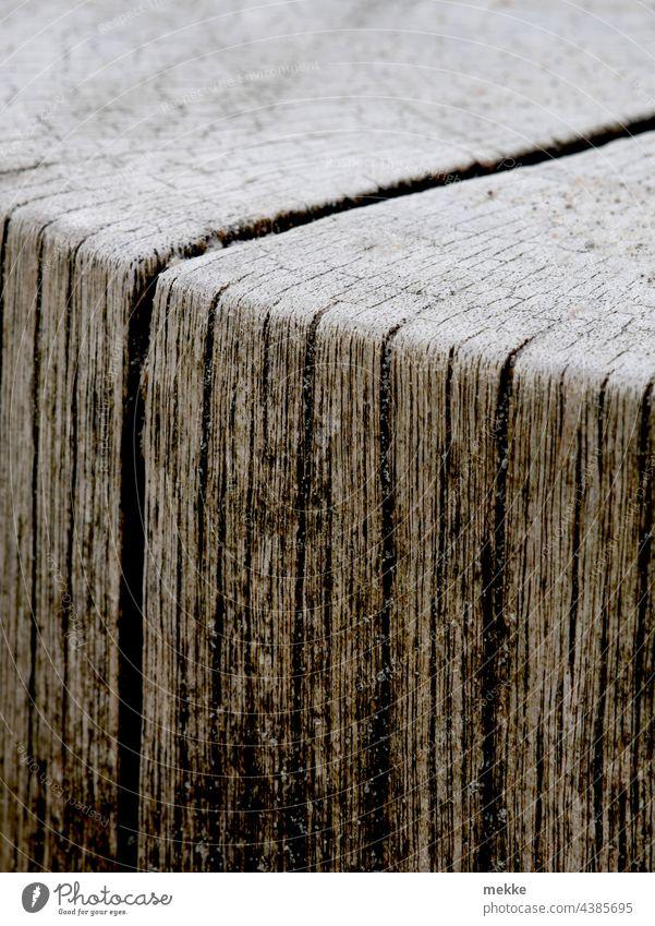 Holzmaserung einer Buhne am Ostseestrand Meer Strand Maserung Detailaufnahme Holzstruktur Stamm Rille Rillen Kante Furche Zeit verwittert alt Schatten Küste