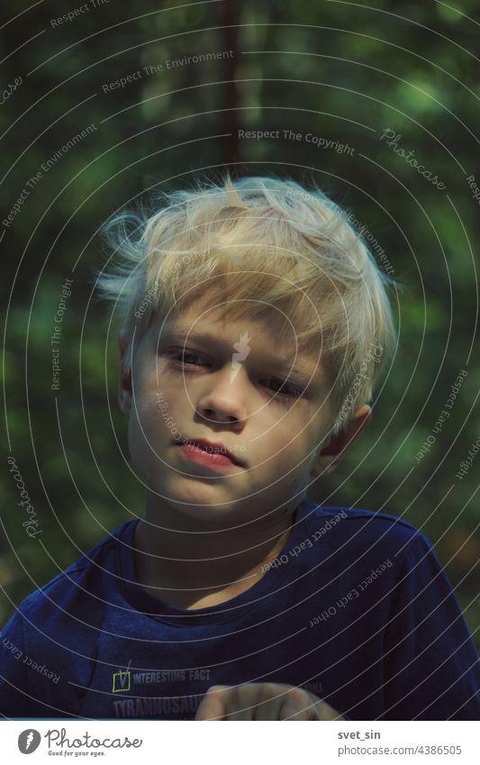 Porträt eines blonden Jungen mit zerzaustem Haar im Freien vor dem Hintergrund eines sommergrünen Waldes. Kind Natur sonnig Schönheit Gesicht Sommerzeit