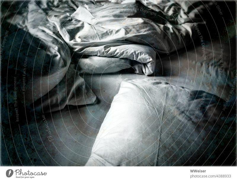 Ein zerknülltes leeres Bett im fahlen Mondlicht... Schlaflosigkeit Decke Kissen Kopfkissen Bettwäsche schlafen Laken Bettezeug nachts Nacht Schlafzimmer