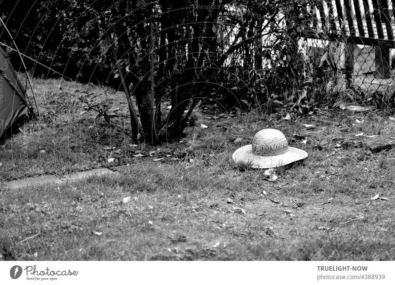 Wo sind die Menschen? Vorbei ist der Sommer Tanz. Strohhut Einsamkeit | HERBSTANFANG Ruhe verlassen Wiese verloren Garten menschenleer einsam Melancholie