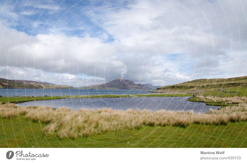 An Aird Ferien & Urlaub & Reisen Ausflug Ferne Freiheit Natur Landschaft Wolken Gras Bucht Meer Insel Teich Halbinsel Schottland Großbritannien Isle of Skye