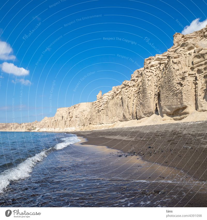 Strand von Santorin | White Beach Meer Ferien & Urlaub & Reisen Griechenland Insel Mittelmeer Kykladen Menschenleer Schönes Wetter Farbfoto