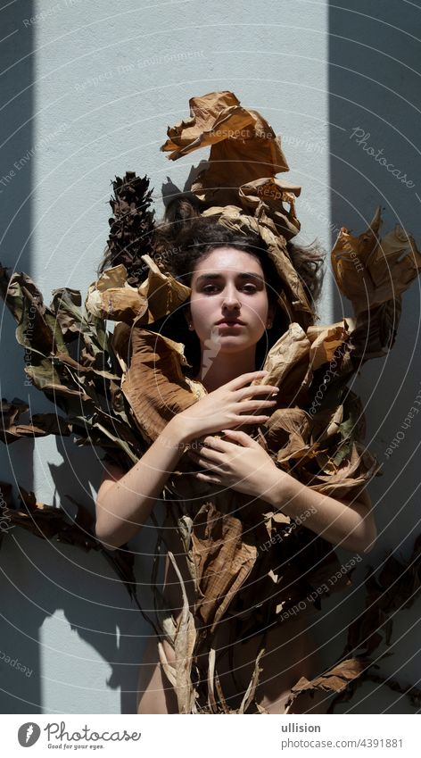 Porträt einer jungen, sexy Frau mit braunen Haaren, die kunstvoll mit Blättern eines vertrockneten Bananenbaums verziert sind, die wie ein Jugendstil-Mädchen aussehen,