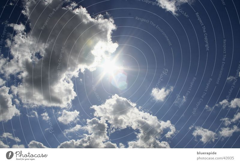 Die Sonne kommt! schön Himmel blau Sommer Strand Wolken dunkel grau Wärme Graffiti hell Beleuchtung Physik heiß Gewitter