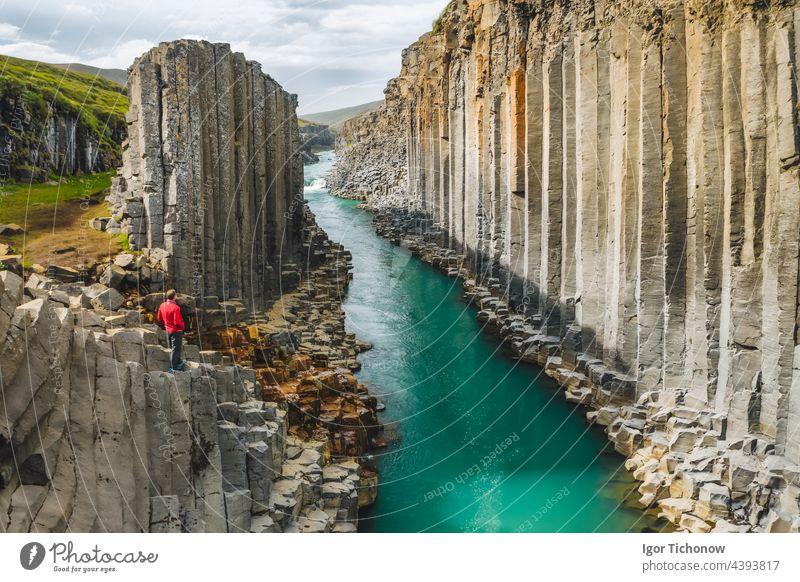 Wanderer in roter Jacke beim Besuch der Studlagil-Basaltschlucht mit seltenen vulkanischen Basaltsäulenformationen, Island Schlucht Mann studlagil Spalte