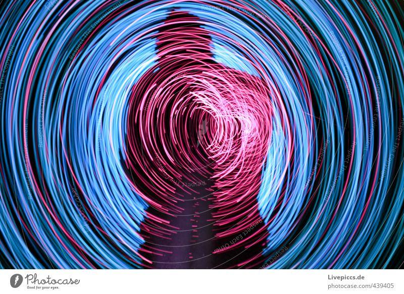 shadow rodden Mensch maskulin Mann Erwachsene 1 30-45 Jahre Kunst Maler Bewegung drehen leuchten hell retro rund trashig wild blau rosa schwarz Lichtspiel