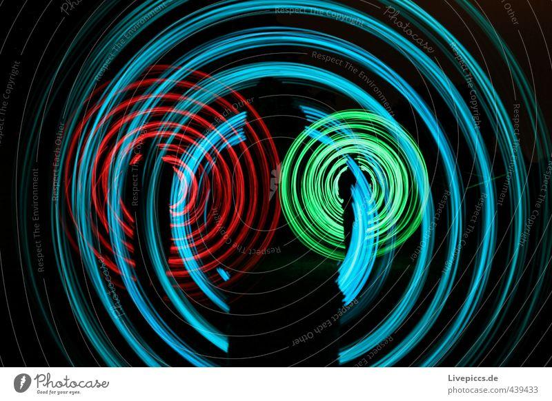 shadow rodden Mensch maskulin Mann Erwachsene 1 30-45 Jahre Kunst Maler Bewegung drehen leuchten hell retro rund trashig blau grün rot schwarz Lichtspiel
