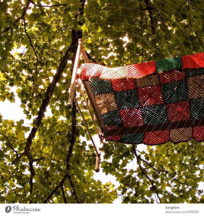 Himmelbett Sommer Bett Natur Schönes Wetter Baum Garten Holz Metall hängen schlafen außergewöhnlich braun mehrfarbig grün rot träumen Häusliches Leben