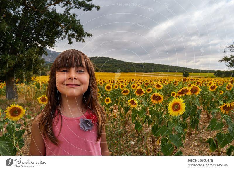 Mädchen mit lustigem Gesicht, das in einem herrlichen Sonnenblumenfeld in die Kamera schaut Kind Feld Blume Glück Freude Menschen Person Sommer sonnig jung