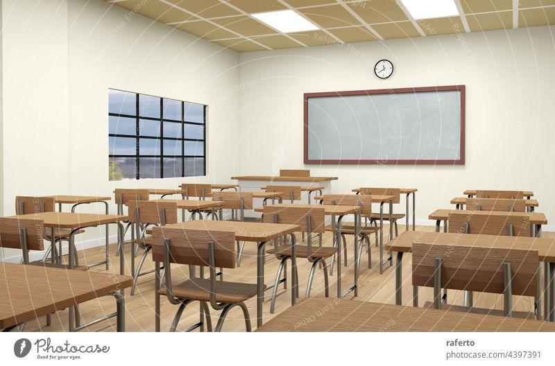 Eine leere Schule Klassenzimmer Interieur 3d Illustration Tafel Klassenraum Schreibtisch Bildung Stuhl Raum Innenbereich im Innenbereich Lektion Sitz lernen