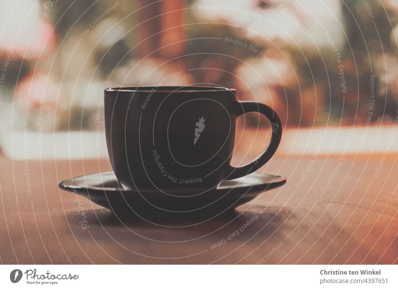 Den Tag mit einer Tasse Kaffee beginnen gemütlich Freude genießen Tisch Fenster Kaffeeduft Café Kaffeetasse Kaffeepause Frühstück Heißgetränk Kaffeetrinken