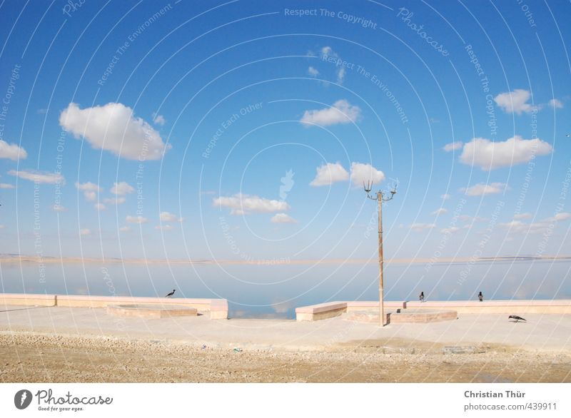 Qarun See bei Al Fayyum - Ägypten harmonisch Wohlgefühl Sinnesorgane Erholung ruhig Angeln Tourismus Ausflug Wasser Wolken Winter Schönes Wetter Seeufer Wüste