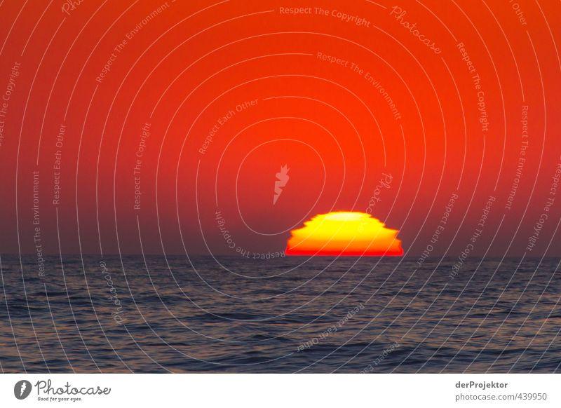 Sonnenuntergang á la Commodore 64 oder Tetris Umwelt Natur Landschaft Urelemente Himmel Wolkenloser Himmel Sommer Klima Schönes Wetter Wellen Küste Strand Meer