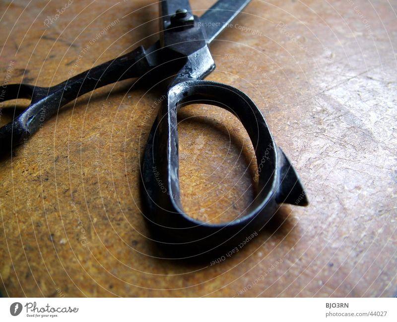 Goldenes Handwerk #1 Haushalt Werkzeug Werkstatt Griff geschnitten Schere Scheune Makroaufnahme Metall Rost
