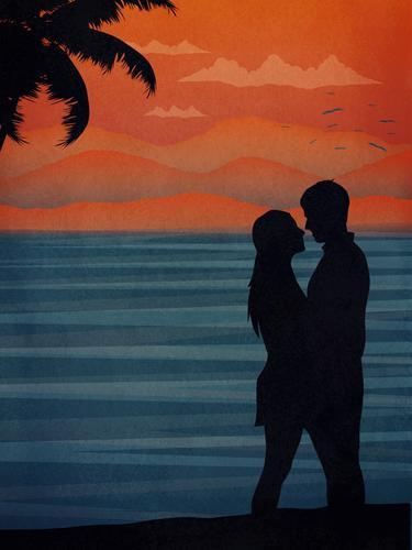 Paar küsst sich am Strand Küssen Liebe Romantik Handfläche tropisch Sonnenuntergang Fröhlichkeit Feiertag Flitterwochen