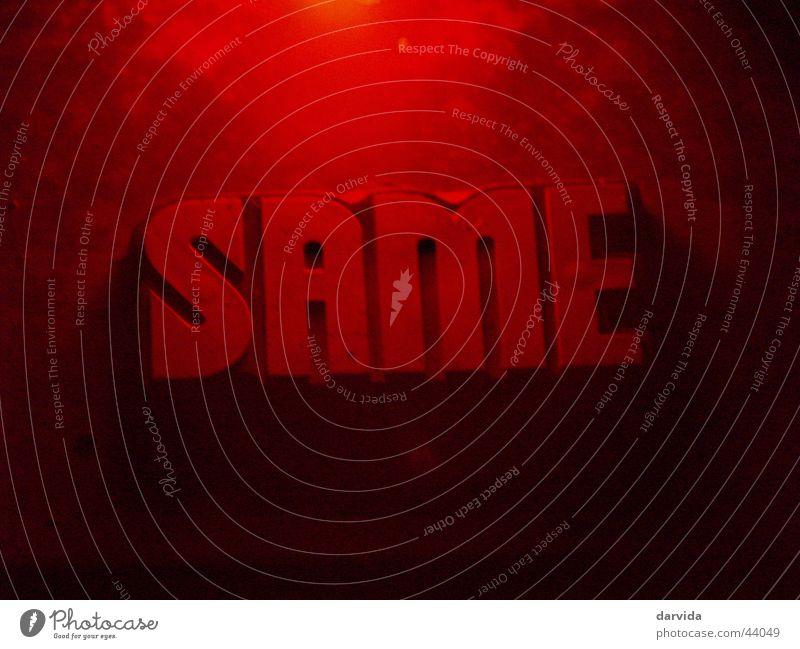 Red rot schwarz Schriftzeichen Handwerk Samen