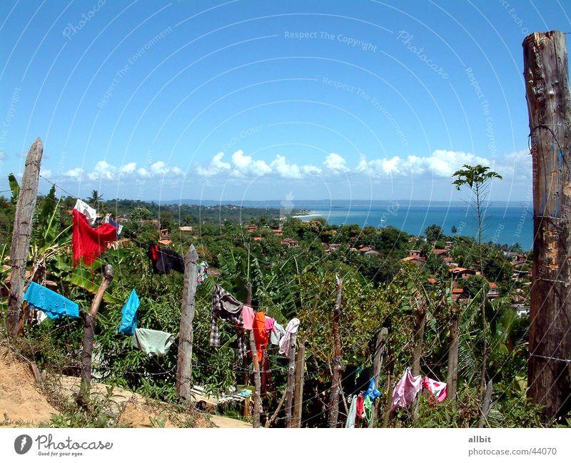 Itaparica Wasser Sonne Meer Sommer Strand Ferien & Urlaub & Reisen Wolken Insel Amerika Palme Zaun Wäsche Brasilien Südamerika