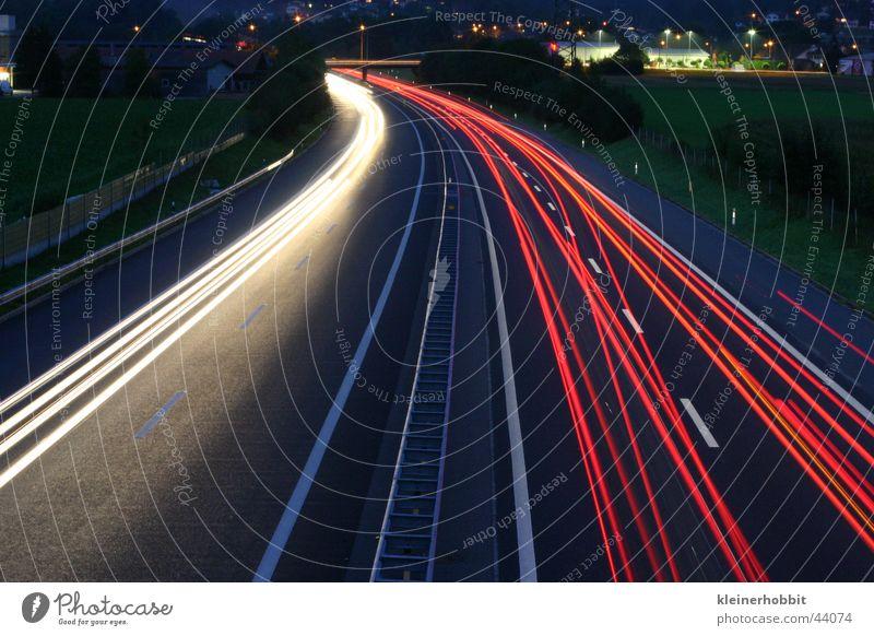 Autobahn A1 By Night Nacht Geschwindigkeit dunkel Langzeitbelichtung Licht Verkehr