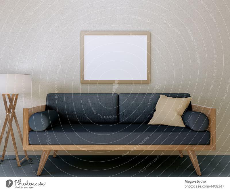3D-Illustration. Mockup von einem leeren Plakatrahmen an der Wand hängen. 3d Rahmen Attrappe Dekoration & Verzierung lebend Raum modern Innenbereich Design