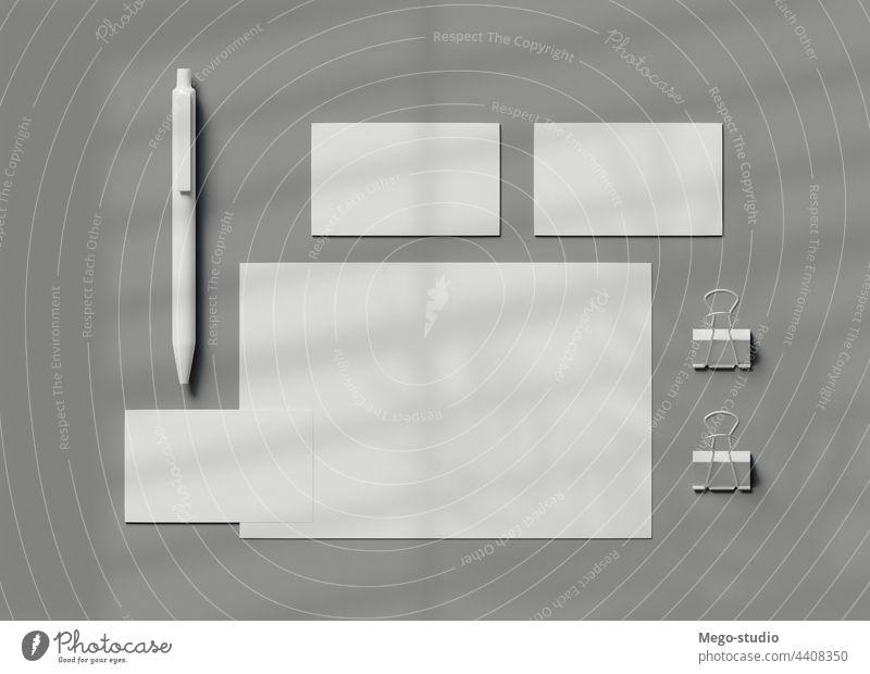 3d Briefpapier-Branding. Corporate Identity Business ruhend korporativ Attrappe weiß Schriftstück Markenbildung blanko Vorlage Hintergrund Kulisse