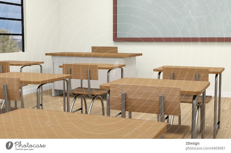 Leere Schule Klassenzimmer Interieur 3d Illustration Tafel Klassenraum Schreibtisch Bildung Stuhl Raum Innenbereich leer im Innenbereich Lektion Sitz lernen