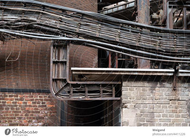 Kabel in Industriegebäude Netzwerk LAN Verbindung alt historisch verfallen Netzausbau Strom Energie Kommunikation Information Datenleitungen Leitungen