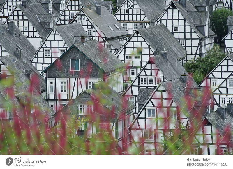 Altstadt von Freudenberg, auch alter Flecken oder Marktflecken genannt, beliebtes Ausflugs- und Reiseziel im südlichen Westfalen Außenaufnahme Farbfoto Denkmal