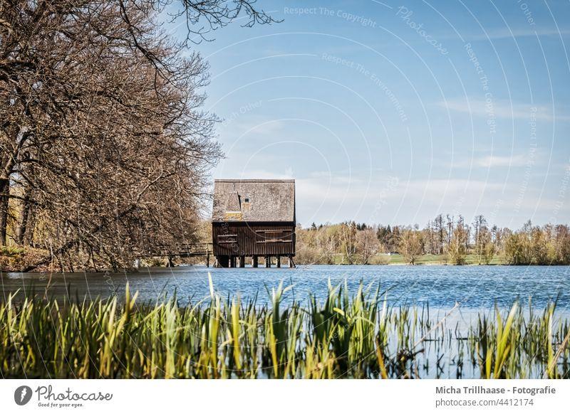 Pfahlhaus an den Plothener Teichen / Thüringen Schiefergebirge See Wasser Holzhaus Ufer Bäume Äste Zweige Himmel Wolken Sonne Sonnenschein Natur Landschaft