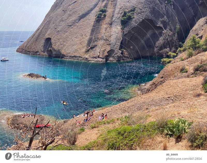 Le Mugel bei la Ciotat la ciotat Marseille Küste blau Frankreich Farbfoto Ferien & Urlaub & Reisen Außenaufnahme Meer Wasser Tag Sommer Landschaft Natur Himmel