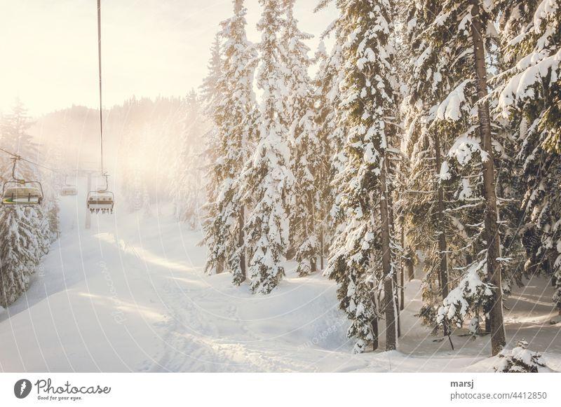 Besetzt | Sessellift in Winterlandschaft Sesselbahn Skilift Skifahren Wintersport Winterurlaub Schnee Ausflug Sport Ferien & Urlaub & Reisen Berge u. Gebirge