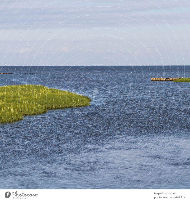 Neuwerk Ostschleuse Natur Ferien & Urlaub & Reisen blau grün Wasser Sommer Erholung ruhig Landschaft Umwelt Gras Küste Wellen Insel Bucht Nordsee