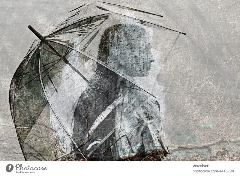 Ein nachdenkliches Mädchen mit einem großen Regenschirm, schemenhaft an einer alten grauen Wand junge Frau Mantel lange Haare langhaarig hübsch klassisch regnen