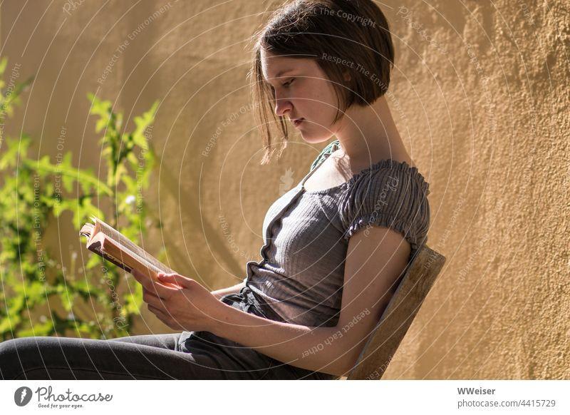 Mit einem guten Buch kann die junge Frau die Zeit vergessen, vor allem an einem sonnigen Abend lesen Leserin Lektüre Mädchen vertieft schmunzeln versunken Sonne