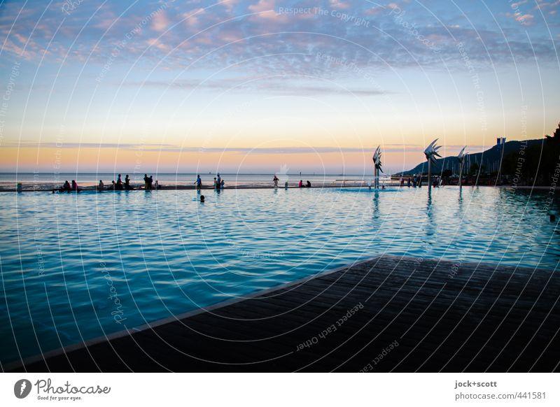 A lagoon exotisch Ferne Wolken Horizont Wärme Küste Pazifik Cairns Schwimmbad Schwimmen & Baden Erholung Stimmung Romantik Freiheit tropisch Abenddämmerung