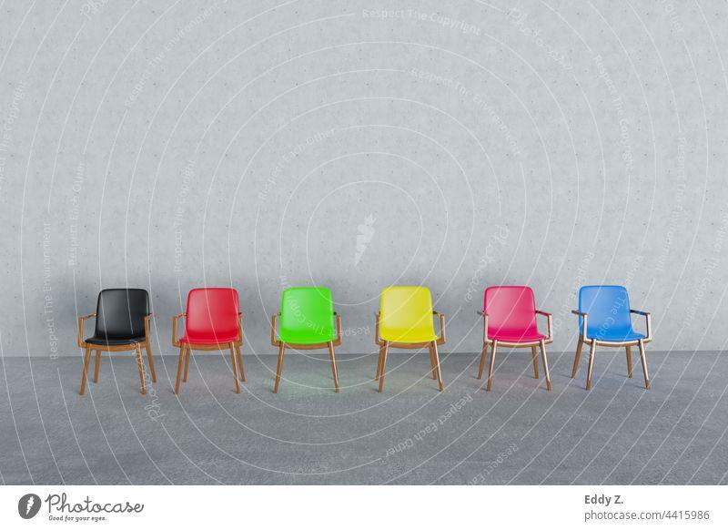 Verschiedenen Stühlen in unterschiedlichen Farben. Mit Farben erschließen wir uns die Welt der politischen Richtung. Rot, Schwarz, Grün, Gelb, Blau, Purpur, Blau sind elementare Orientierungsmuster. Sitze Symbol für Bundestag bei Bundestagswahl.