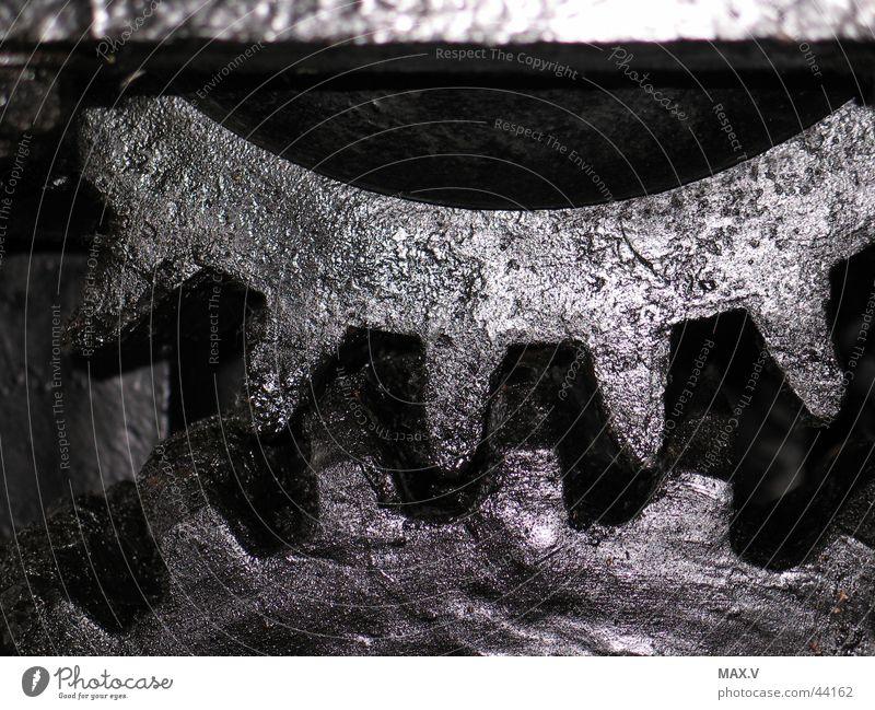 Kraftübertragung schwarz Bewegung Metall Technik & Technologie Zähne drehen Zahnrad Mechanik Elektrisches Gerät