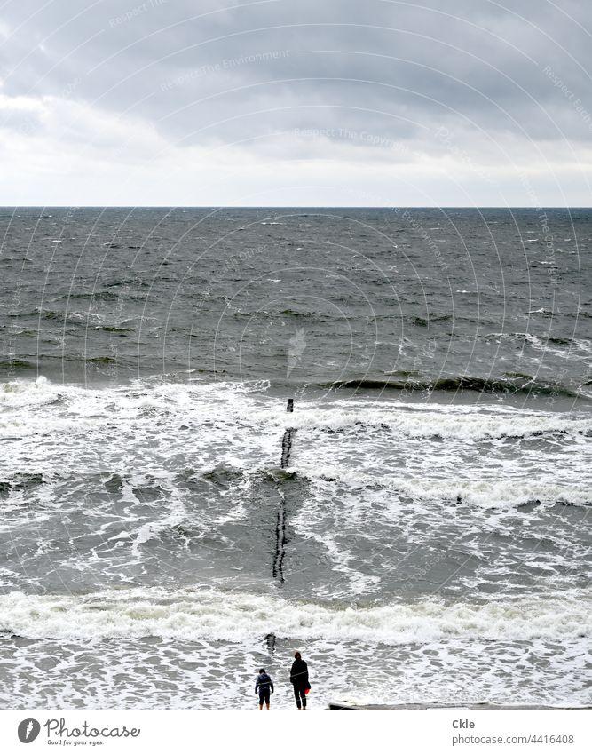 Aussicht aufs Meer Himmel Wolken Horizont Gischt Buhne Wellen Beobachter Strandläufer Wasser Küste Ostsee Brandung Landschaft Wellengang