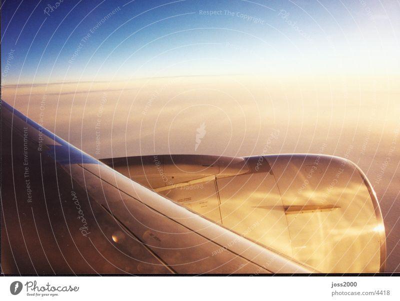 Blick aus dem Flugzeug über den Wolken