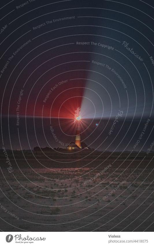 Westerhever - Leuchtturm in der Nacht Nordsee Watt Dunkel Strahlen Küste Landschaft Ferien Natur Meer rot