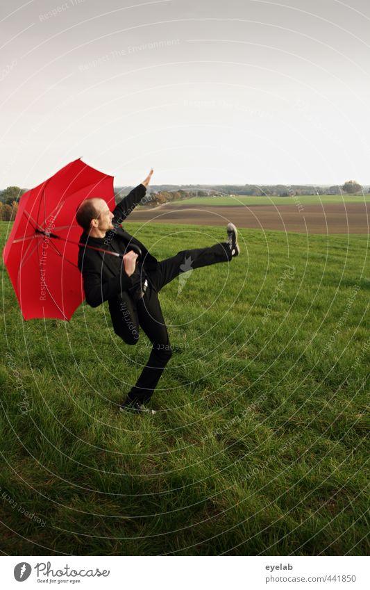 Ave Centurio Mensch maskulin Junger Mann Jugendliche Erwachsene 1 30-45 Jahre Umwelt Natur Landschaft Pflanze Himmel Wolken Herbst Wetter schlechtes Wetter Gras