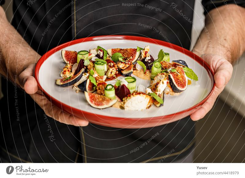 Menschen bei der Arbeit. Die Hände des Kochs halten einen Teller mit Sommersalat mit reifen Feigen, Ziegenkäse, frischem Gurkenröllchen, Roter Bete und Senfblättern mit Tomatensauce. Restaurantgericht