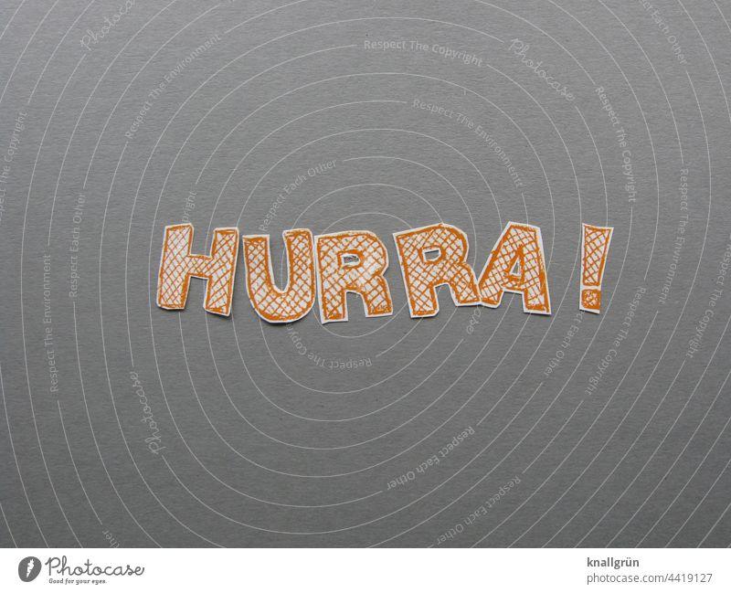 Hurra! Jubelstimmung Freude Begeisterung Lebensfreude Fröhlichkeit Euphorie Glück Gefühle Stimmung Optimismus Zufriedenheit Erfolg Buchstaben Wort Satz Farbfoto
