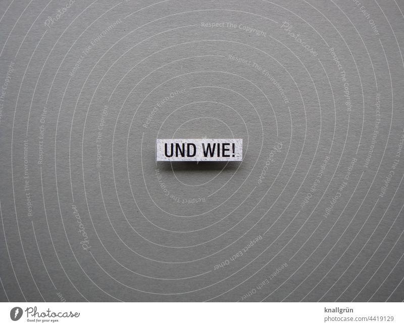 Und wie! bestätigen Zustimmung Bekräftigung Kommunizieren Farbfoto Hintergrund neutral Schriftzeichen Studioaufnahme Text Typographie Buchstaben Menschenleer
