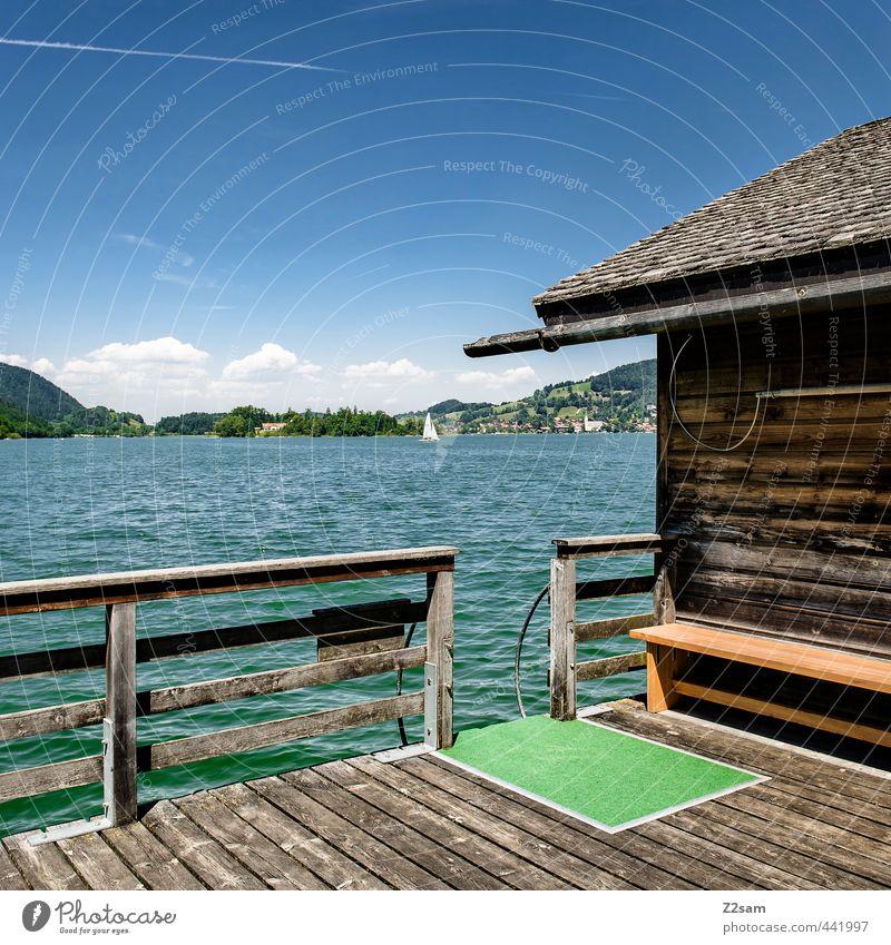 chillig´s platzerl Ferien & Urlaub & Reisen Freiheit Sommer Sommerurlaub Natur Landschaft Schönes Wetter Berge u. Gebirge Seeufer Hütte Bootshaus Steg Segelboot