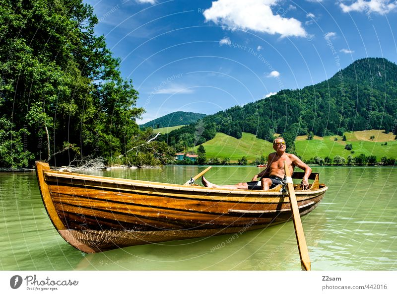 Schlierseechiller Himmel Natur Ferien & Urlaub & Reisen Mann alt Sommer Erholung Landschaft ruhig Wolken Umwelt Berge u. Gebirge Senior See natürlich maskulin