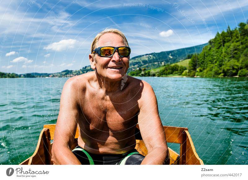 CAPTAIN R. Mensch Himmel Natur Mann Ferien & Urlaub & Reisen Sommer Erholung Landschaft Freude Berge u. Gebirge Senior lachen Glück See maskulin Freizeit & Hobby