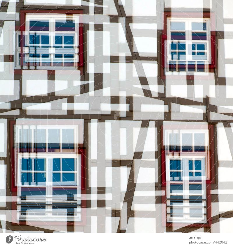 Fachwerk Stil Design Tourismus Häusliches Leben Haus Bauwerk Gebäude Fachwerkfassade Fassade Fenster Linie alt außergewöhnlich einzigartig ästhetisch chaotisch