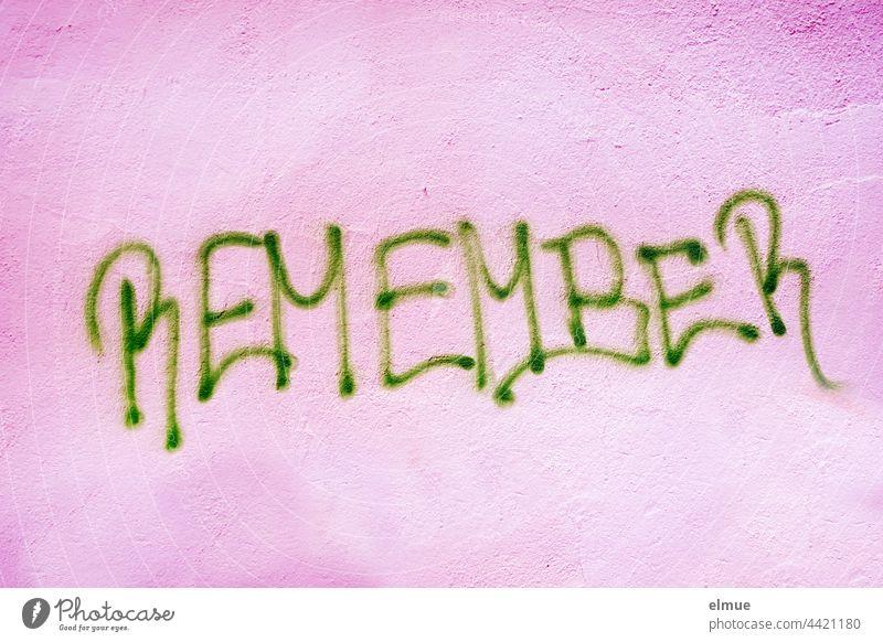 REMEMBER steht in grünen Großbuchstaben an der pinkfarbenen Wand / erinnern / Graffito remember bewahren Andenken Graffiti Handschrift sprayen lila Lifestyle